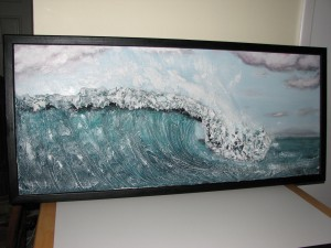 Painted and Framed-Wave Sculpture-Drywall Art