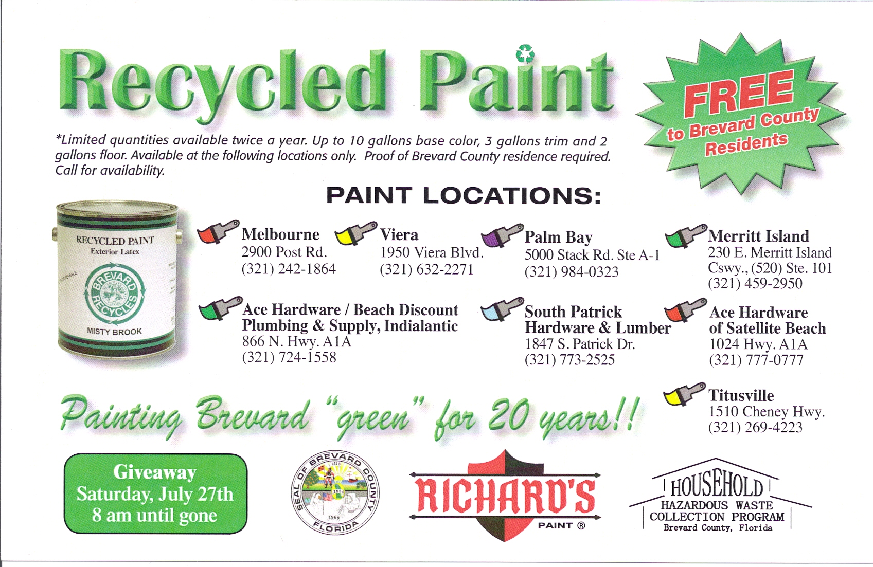 Free Recycled Paint Brevard County Richards Paint