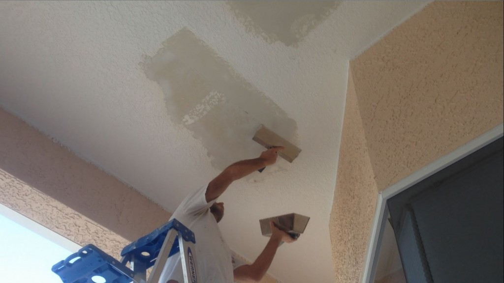 skim coating ceiling repair with hot mud