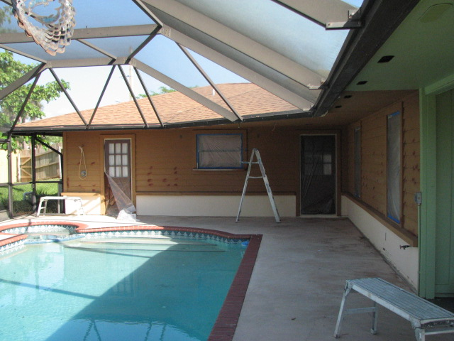 Cedar siding, soffits and stucco painting  in Indialantic before photo:
