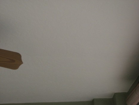 Close up of the new skip trowel ceiling