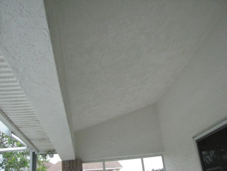 Skip trowel texture applied to the ceiling