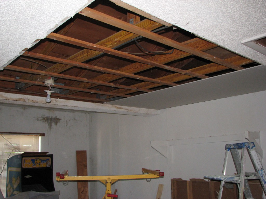Water damaged drywall ceiling removed