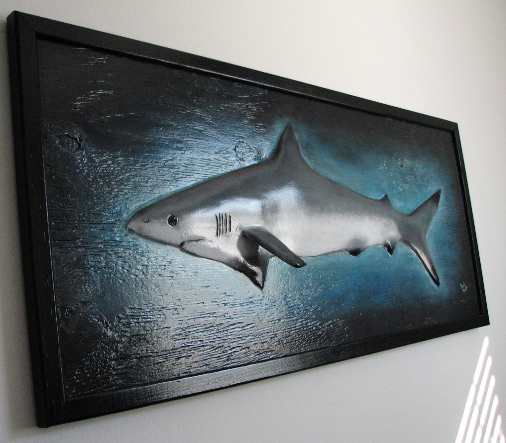 My completed hand painted, backed and framed shark sculpture