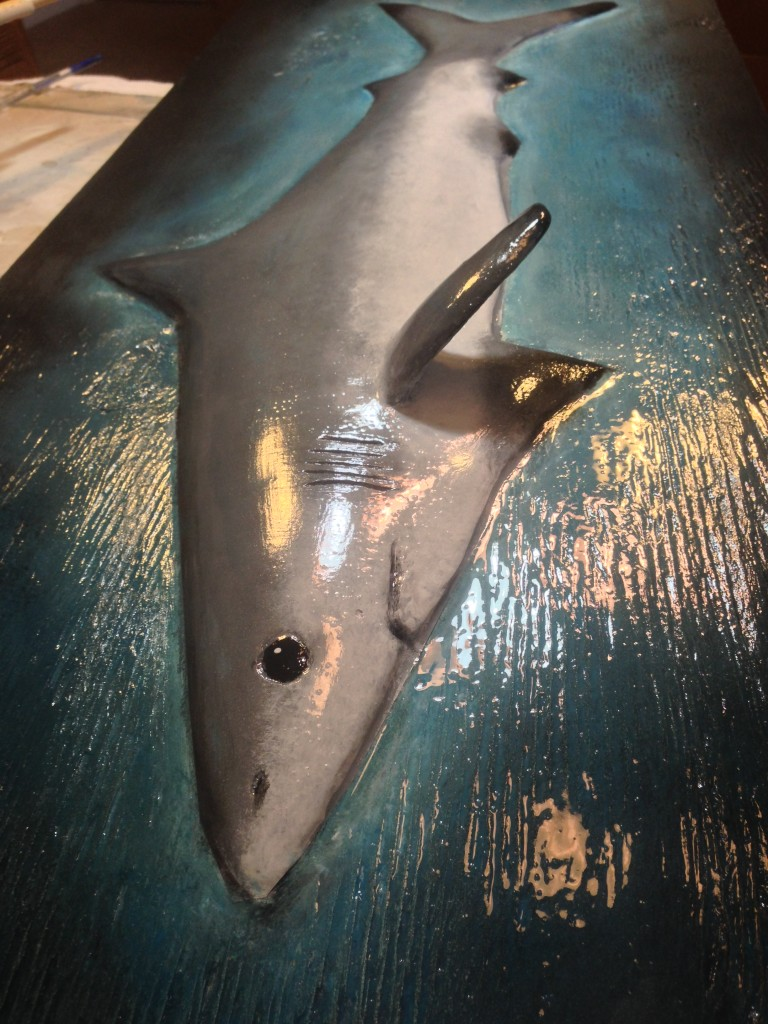 Shark sculpture clear coated with a gloss sealer