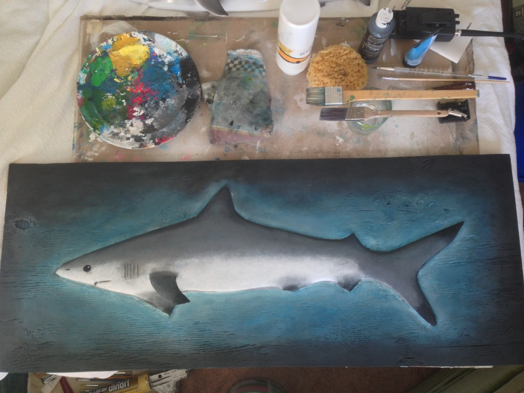 Shark sculpture ready to blend and touch up