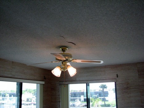Cocoa Beach popcorn ceiling texture falling down- Before photo