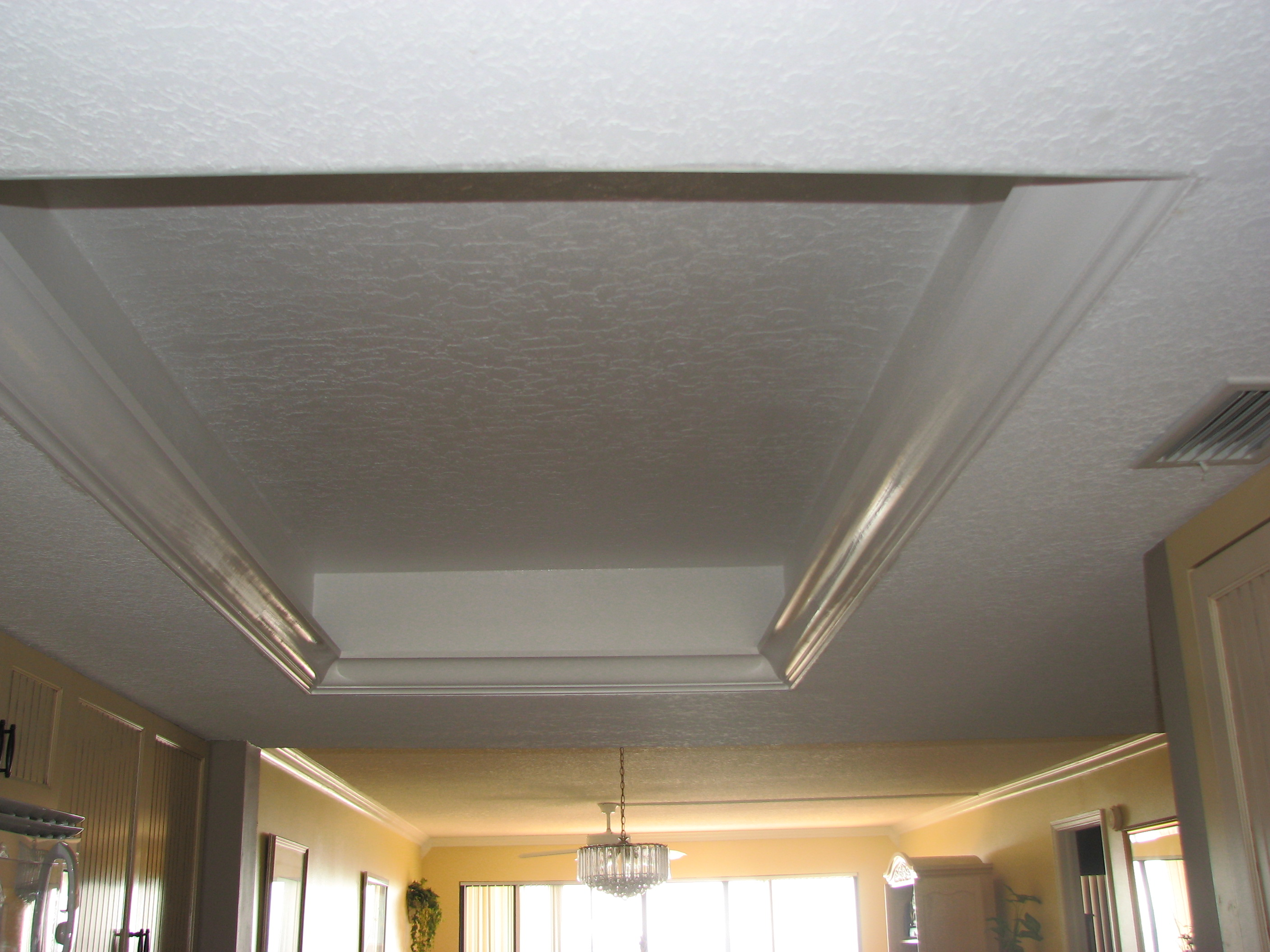 New Trey Ceiling Primed And Painted